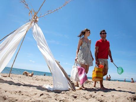 strand bij camping Serignan Plage