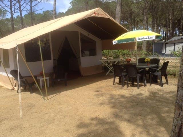 Safaritent Caramel Cypsela schuinvooraanzicht