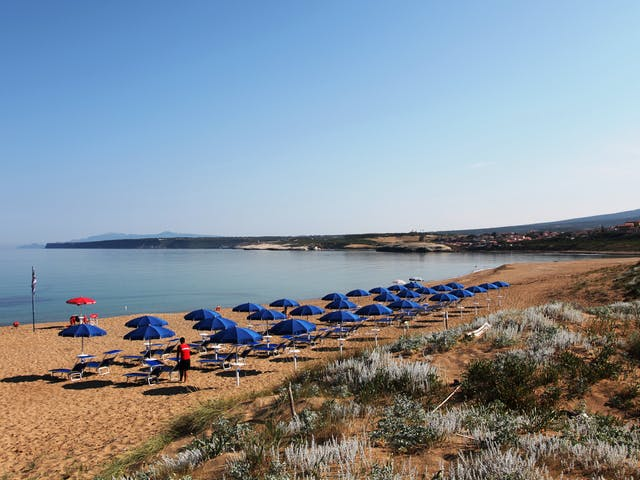 Bella Sardinia strand met ligbedjes