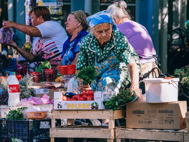 Markt bij Gardameer