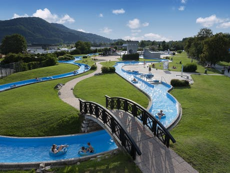 Camping Terme Catez lazy river brug
