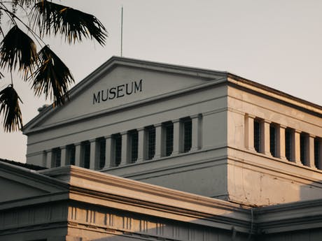 museum stock sunset