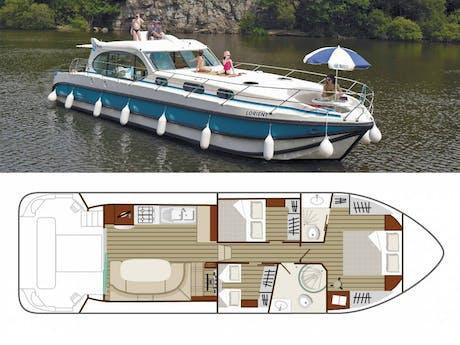 plattegrond en foto Estivale Sixto boot