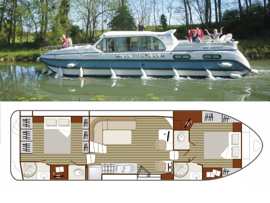 plattegrond en foto Confort 1350 VIP boot