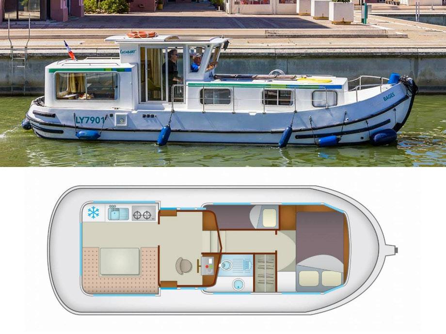 plattegrond en foto P935(W) Locaboat