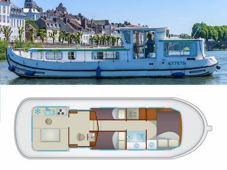 plattegrond en foto P1107(W) Locaboat