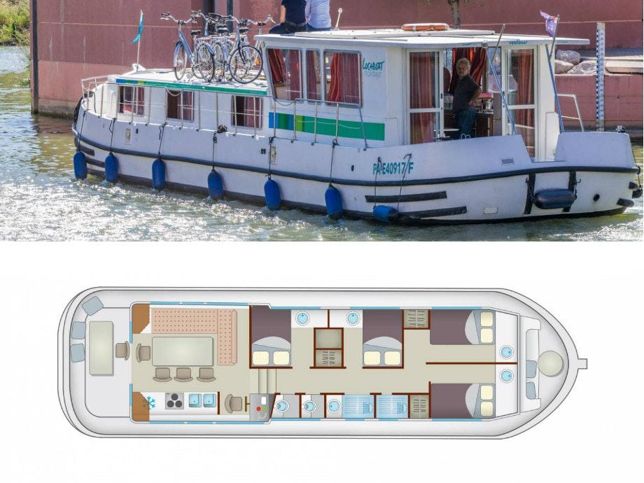 Plattegrond en foto Locaboat P1500R