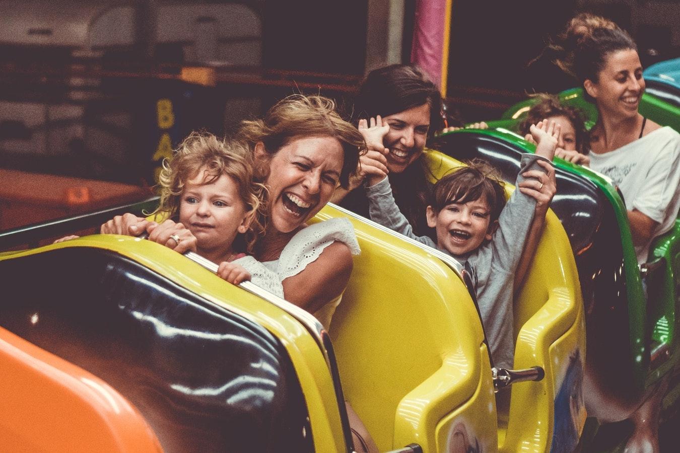 family happy roller coaster
