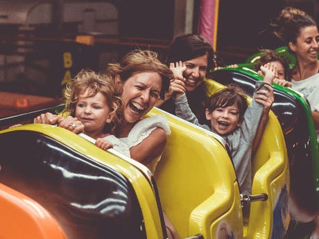 family happy roller coaster