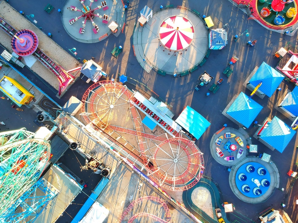 theme park circus birds ye view pier