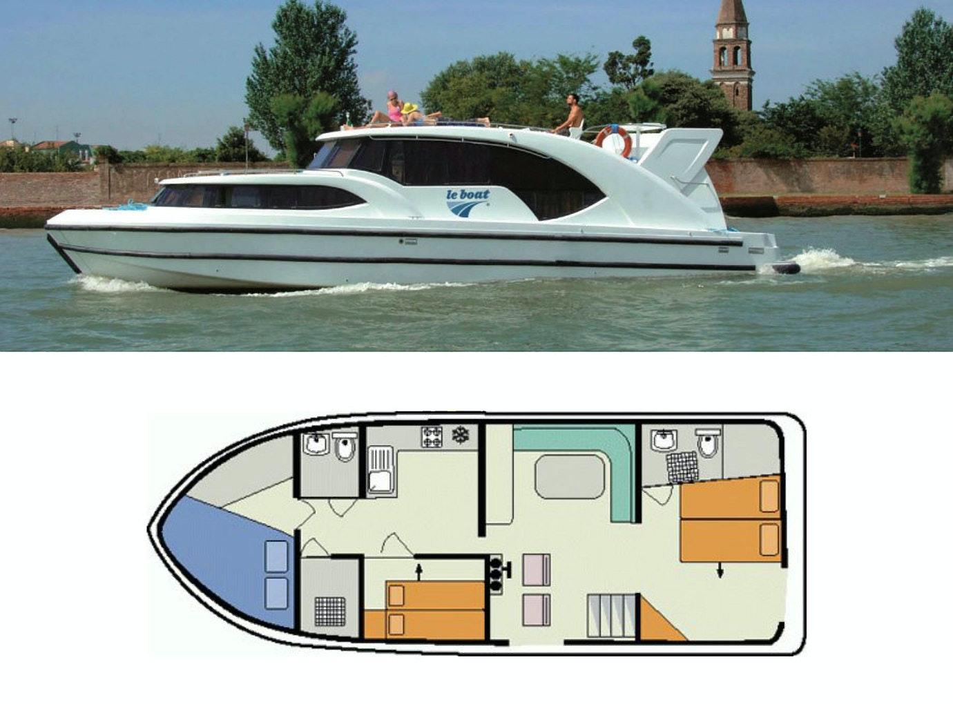 plattegrond en foto Minuetto 6+ Le Boat