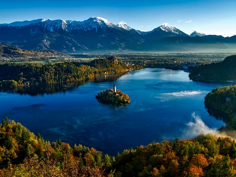 bled lake with curch high def