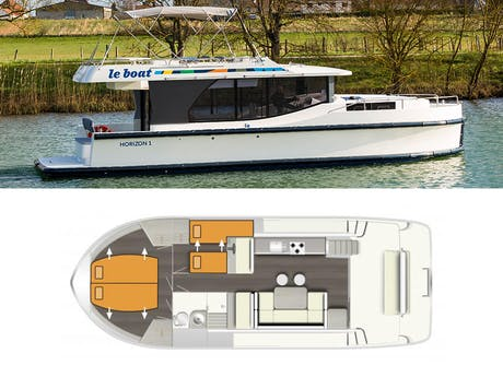 plattegrond en foto Horizon 1 Le Boat