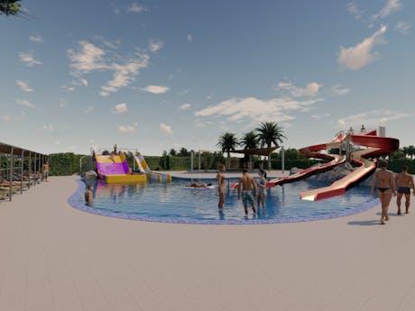 Camping Valldaro nieuw zwembad met glijbanen