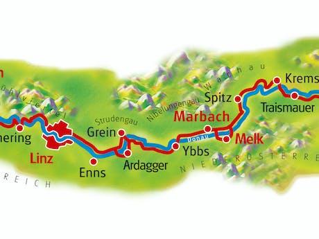 Kaart Donauradweg
