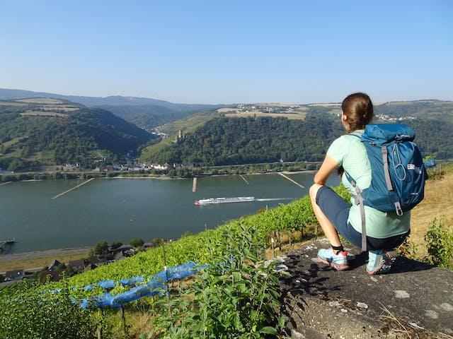 Rheinsteig Rheinblick wandelaar