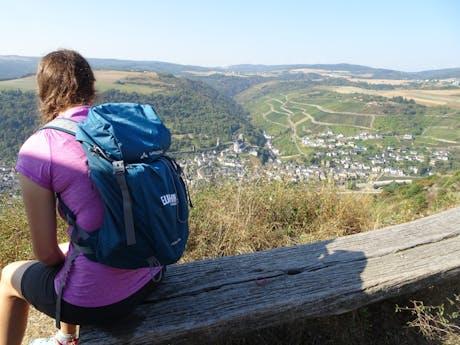 Rheinsteig Rijnblik wandelaar